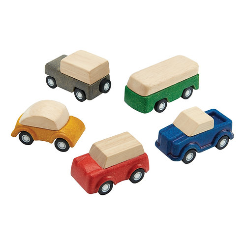 סט 5 מכוניות עץ