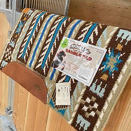 Morning Star Blanket Braun-Türkis mit Wolluntersatz