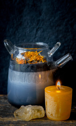charcoal milk and candle