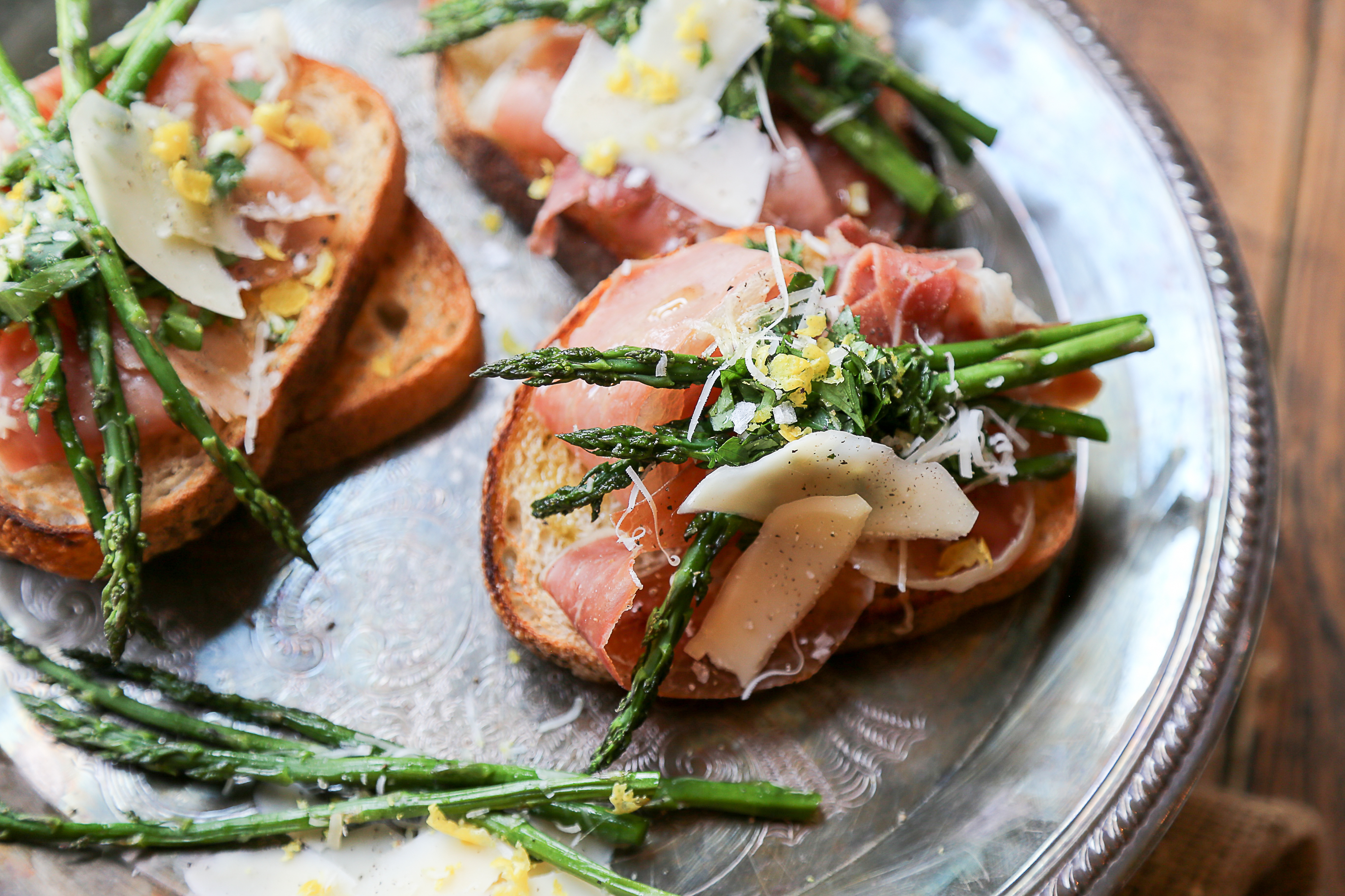 Italy-Bruschette of Pancetta, Pecorino-Roasted Asparagus and Gremolata 2