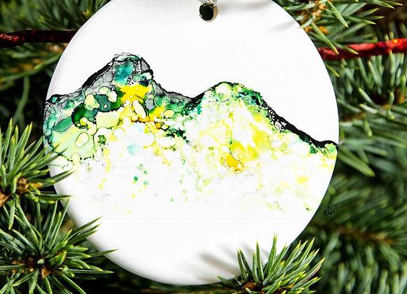 Catbells in Ink Porcelain Hanging Ornament