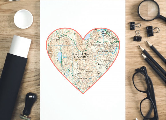 Map Location Heart Print