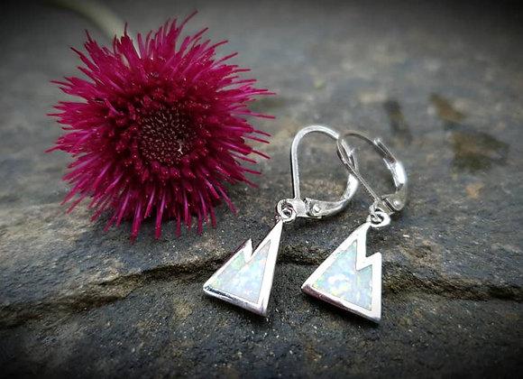Sterling Silver Opal Mountain Drop Earrings