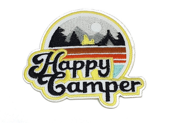 Iron on Happy Camper Adventure Patch, Embroidered Badge, Applique, Hiking Patch