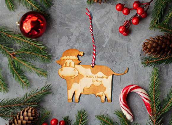 Wooden Cow Christmas Ornament
