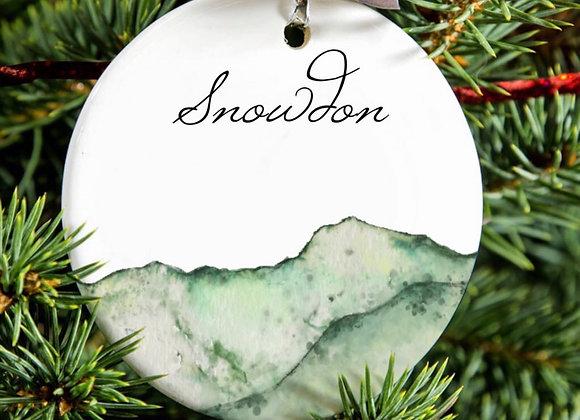 Three Peaks Illustrated Porcelain Ornament : Snowdon