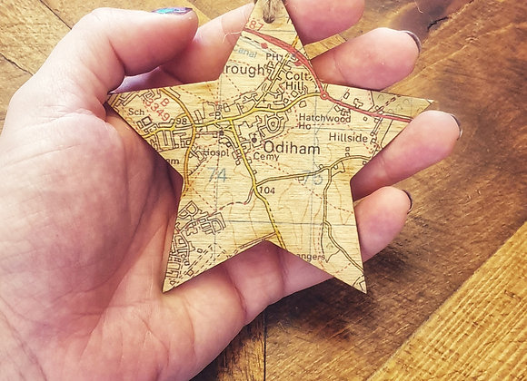 Personalised Wooden Map Star