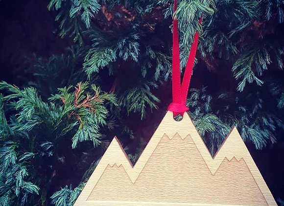 Wooden Mountain Hanging Ornament
