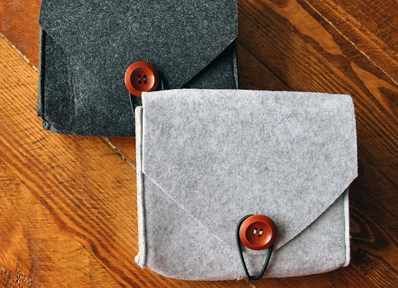 Unisex Wool/Felt Gadget Case. Travel Wallet. Stationary Pouch. Document Holder.
