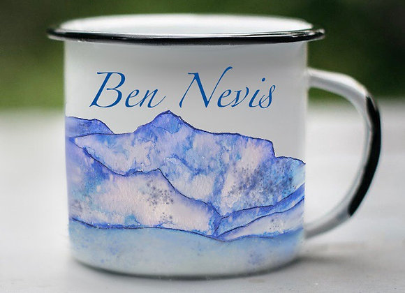 Three Peaks Illustrated Enamel Mug : Ben Nevis