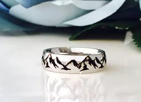 Unisex Stainless Steel Mountain Ring