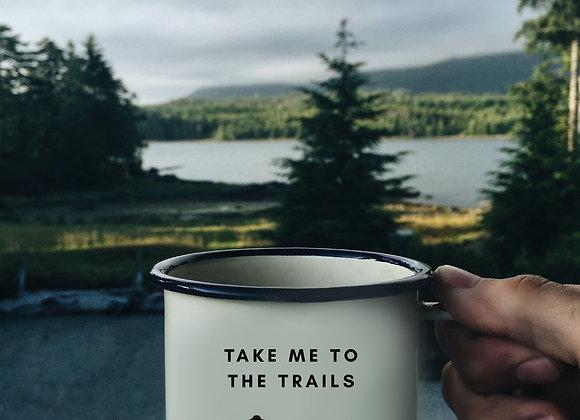 Take Me to the Trails Mountain Bike Enamel Mug