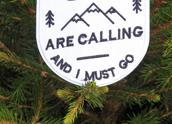 The Mountains Are Calling Adventure Patch, Embroidered Badge, Hiking Patch
