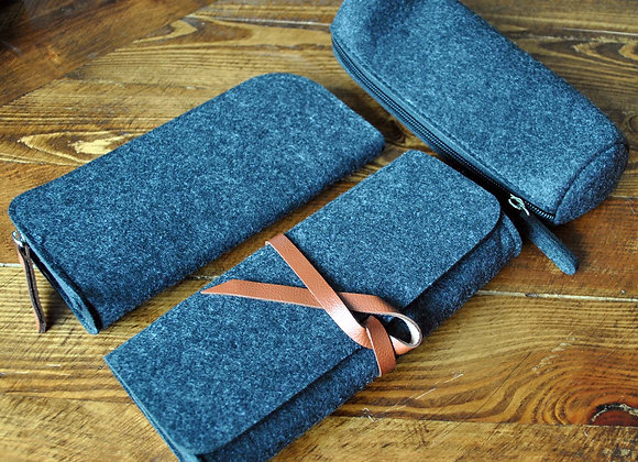 Wool and Leather Travel Case Set