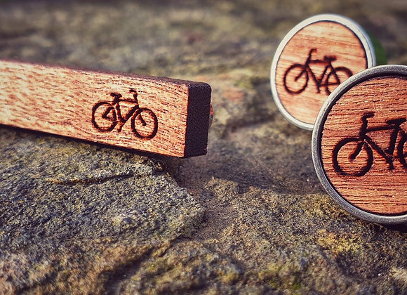 Cherry Wood Cycling Cufflinks and Tie Clip set