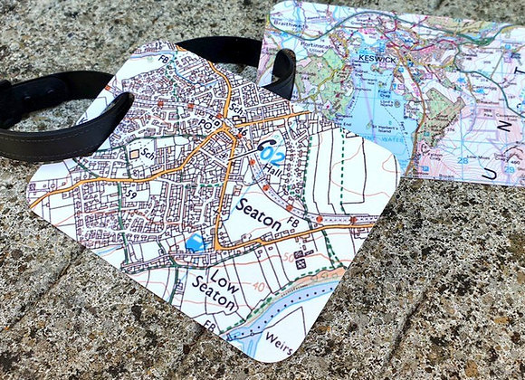 Personalised Map Luggage Tags