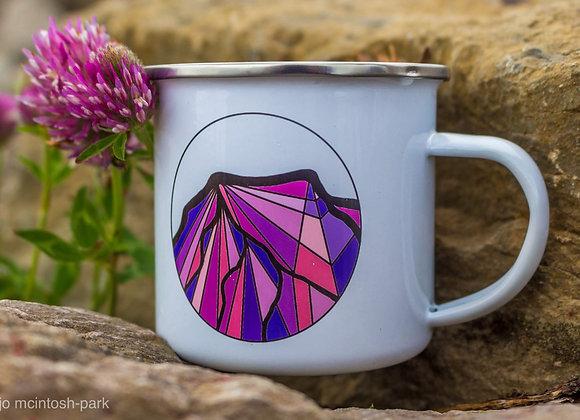 Illustrated Lake District Peaks Enamel Mug