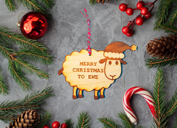 Wooden Sheep Tree Ornament