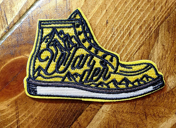 Hiking Boot Patch, Embroidered Badge, Applique, Hiking Patch