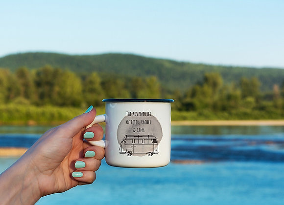 Personalised Camping and Caravanning Enamel Mugs