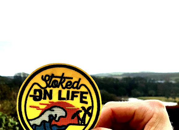 Stoked on Life Adventure Patch, Embroidered Badge, Applique, Hiking Patch