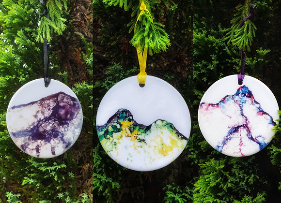 Lake District Fells  Porcelain Hanging Ornament