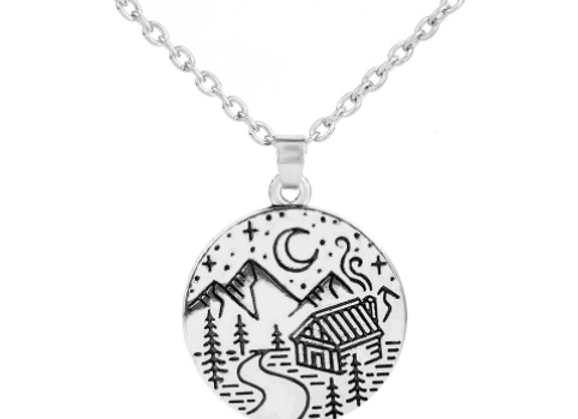 Wilderness Camping Cabin Necklaces