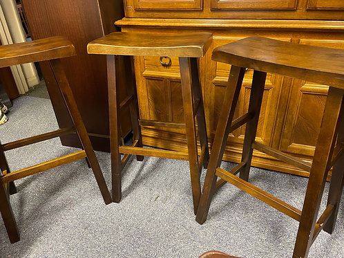 Three Wooden Bar Stools