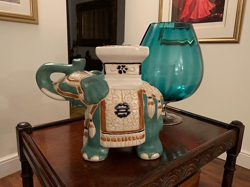 Porcelin Jade Coloured Indian Elephant Ornament