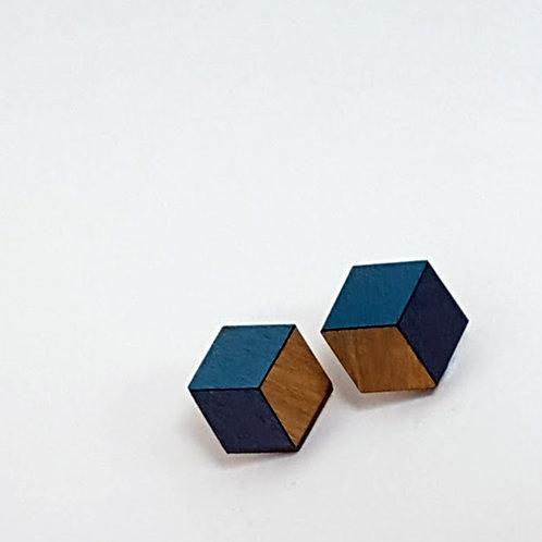 3d//2d Cube Studs - Teal & Navy