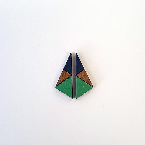 Geometric Triangle Earrings Small - Green & Navy