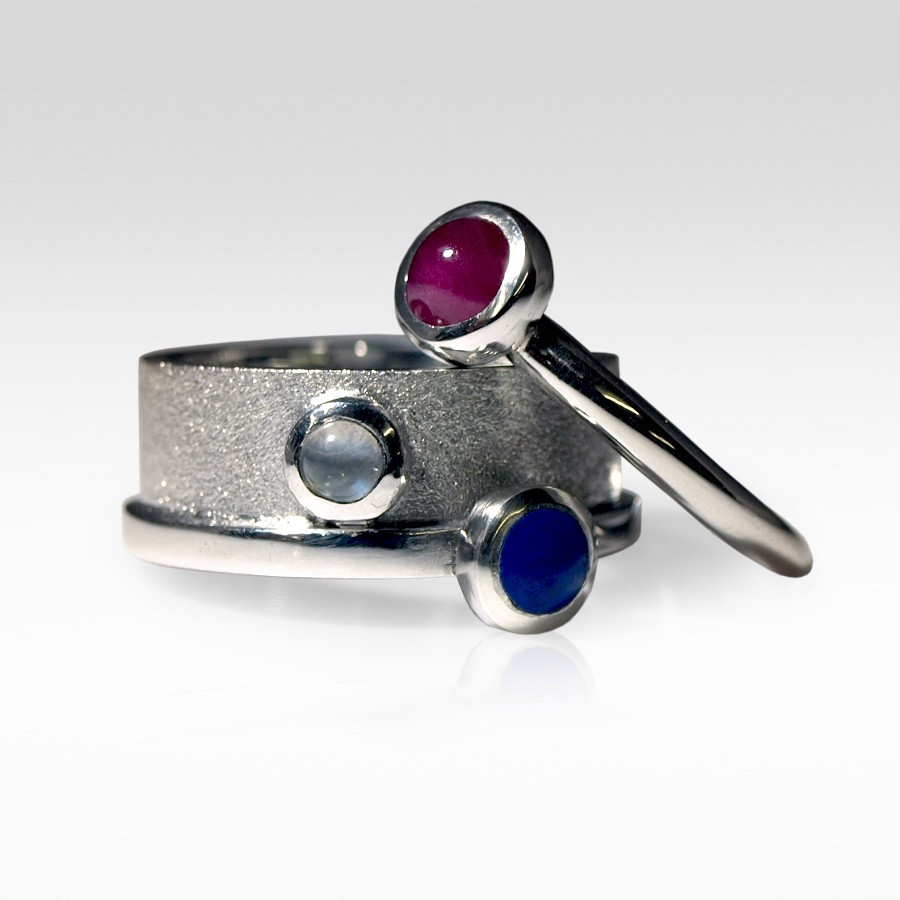Ruby, Lapis Lazuli & Moonstone Rings