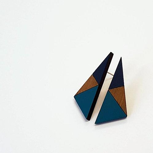 Geometric Triangle Earrings - Teal & Navy