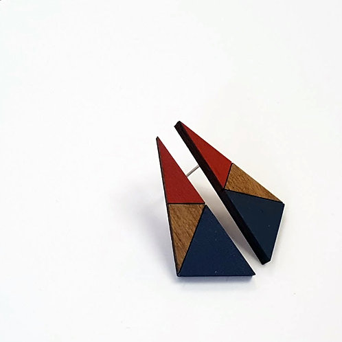 Geometric Triangle Earrings - Red & Navy