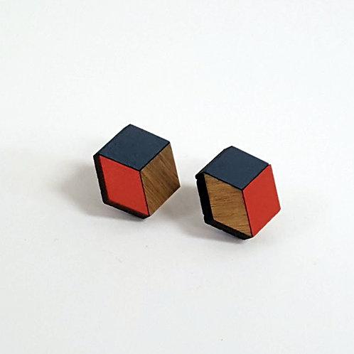 3d//2d Cube Studs - Red & Navy
