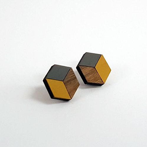 3d//2d Cube Studs - Yellow & Grey