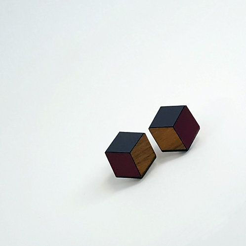 3d//2d Cube Studs - Heather & Plum