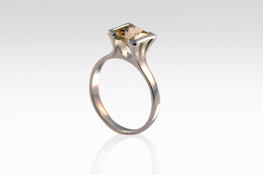 Topaz & Palladium Engagement Ring