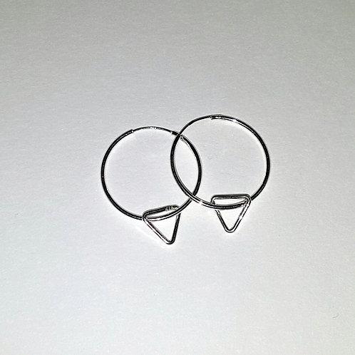 Silver Triangle Hoop Earrings