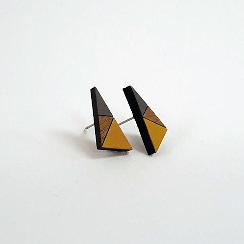 Geometric Triangle Earrings Small - Yellow & Grey