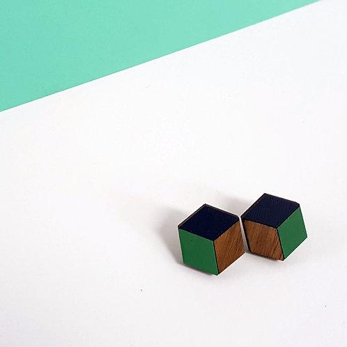 3d//2d Cube Studs - Green & Navy