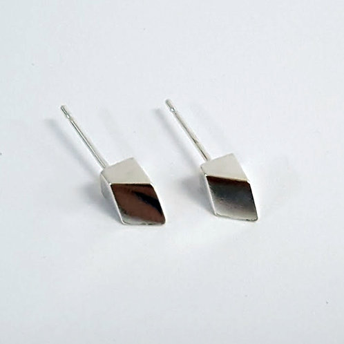 Silver Angled Cube Stud Earrings