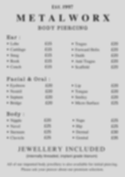 Metalworx body piercig price list common