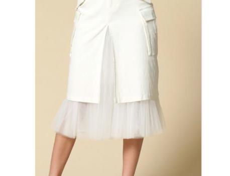 Flirt w Me Tulle Cargo Skirt   Off White