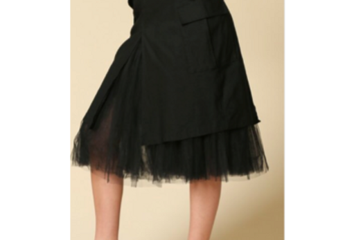 Flirt w Me Tulle Cargo Skirt | Black