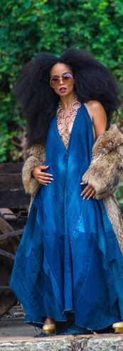 Draped Denim Maxi Dress