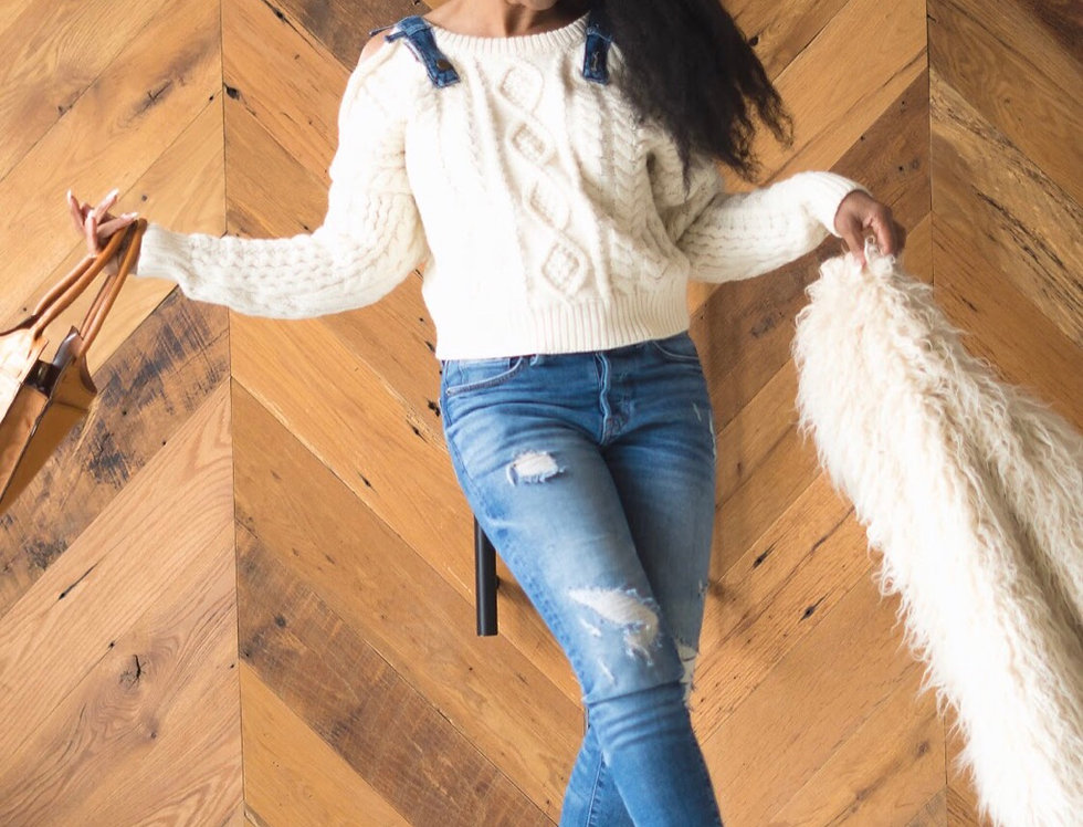 Comfy Cozy Cold Shoulder Sweater