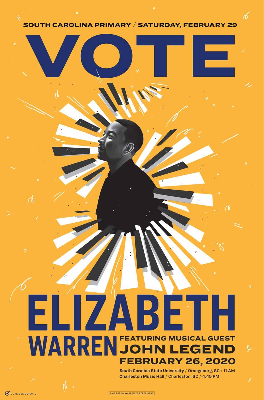 Poster  Warren for President: John Legend & Elizabeth Warren South Carolina Poster  Illustrator: Grace Abe