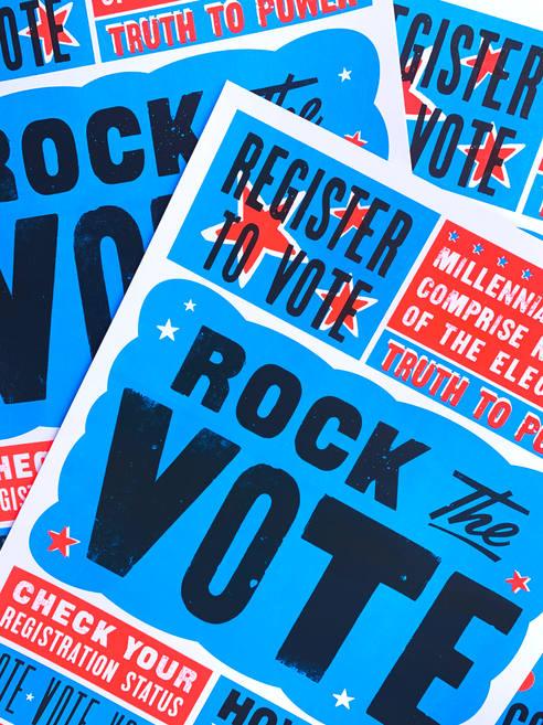 Letterpress Poster  Rock the Vote + MICA's The Globe Collbration