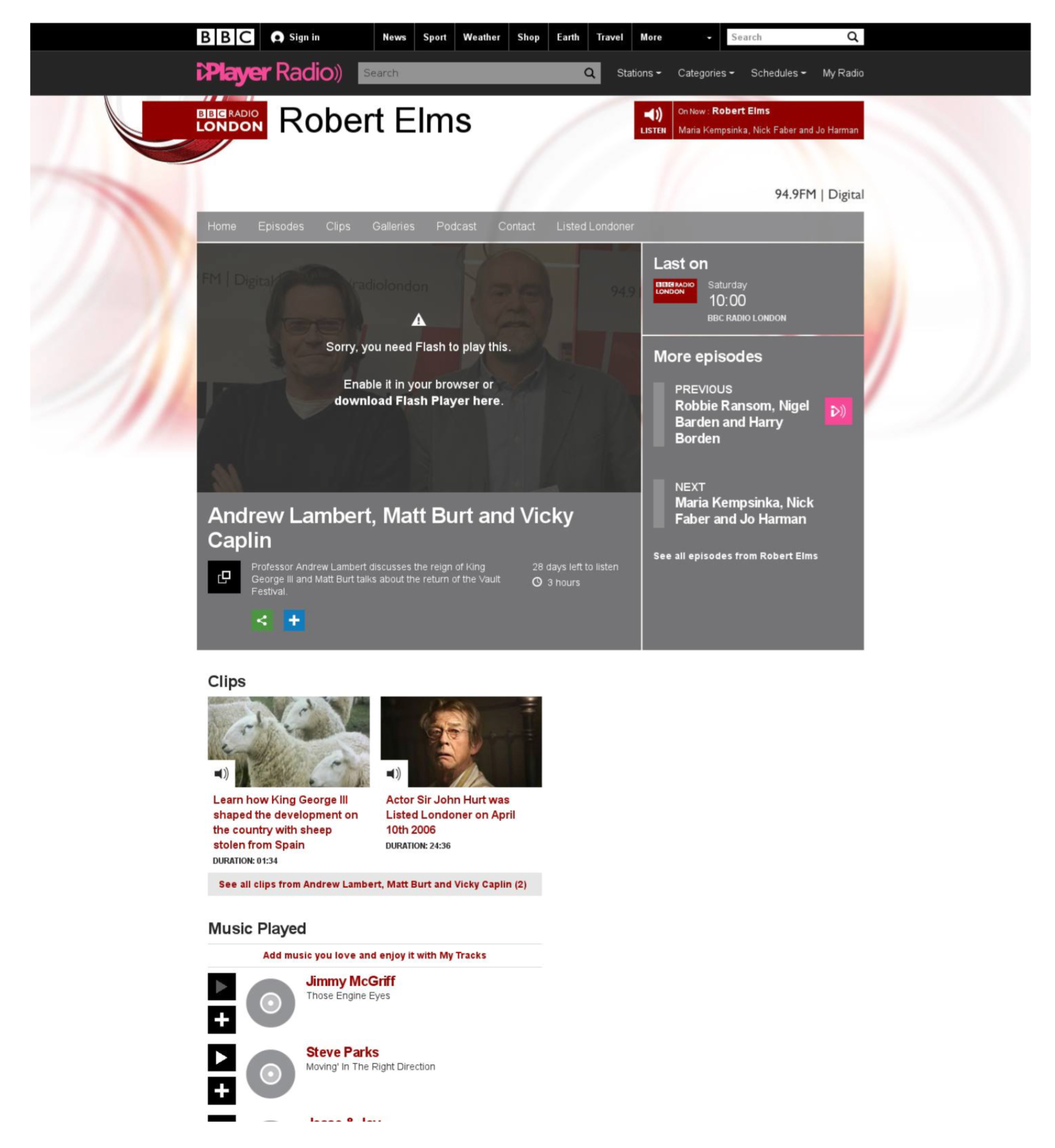 BB Robert Elms Radio Show Press